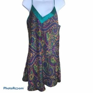 Feather Bed Paisley Mardi Gras 80's Slip Dress L